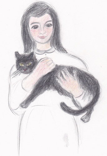 woman and cat drawing
