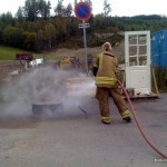 Dousing the fire with broad spray of water