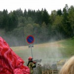 Water blaster on cinder block demo