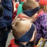 Boys wearing fleece headbands in blue